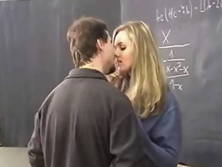 Blonde student offers her tits to her French professor