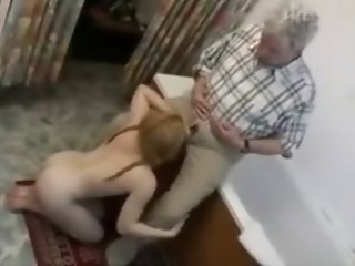 Old man fucks a pigtail college girl up the ass