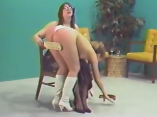 Spanked in white satin panties