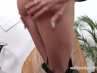 Wetandpuffy - Cute brunette Paris Divine enjoys a squirting orgasm