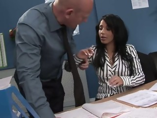 Kinky secretary sits on bosses face then rides his cock