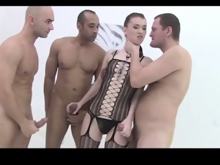 Brunette gets rough anal from 3 big cocks