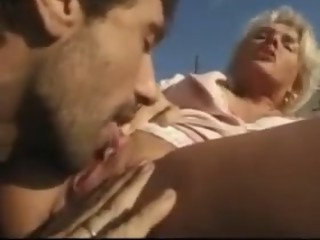 Nice blond woman dp outdoor