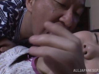 Pretty Asian teen with small tits Marin Aono smacked hard